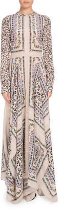 Altuzarra Long-Sleeve Button-Front Printed Crepe de Chine Maxi Dress w/ Scarf Hem