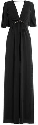 Halston Flutter Sleeve Gown with Embellishment