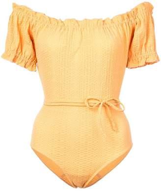 Lisa Marie Fernandez off-the-shoulder swimsuit
