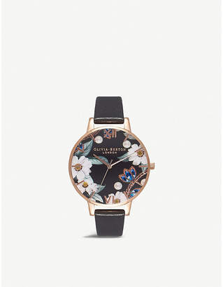 Olivia Burton Rose-gold and leather watch