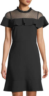 Nanette Lepore Nanette Mesh-Shoulder Flounce-Trim Dress