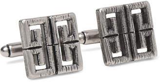 Givenchy Logo Burnished Silver-Tone Cufflinks