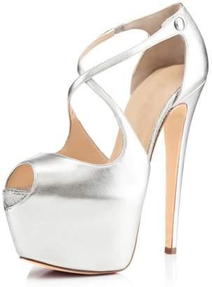 694986b1eb8 Joogo Open Toe Platform Stilettos Ankle Corss Strap Buckle Snap High Heels  Wedding Pumps Size 7