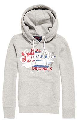 16c822be Superdry Women's Real Originals Flag Entry Hood Sports Hoodie, (Grey Marl  Q),