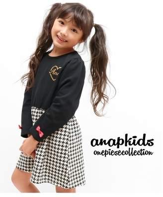 ANAP (アナップ) - ANAP KIDS 千鳥柄切り替えワンピース ブラック