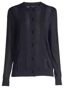Lafayette 148 New York Sheer Striped Cardigan