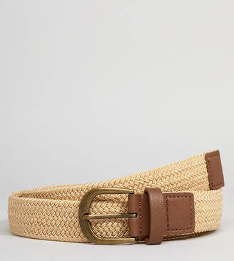 Asos DESIGN Plus Slim Woven Belt In Beige