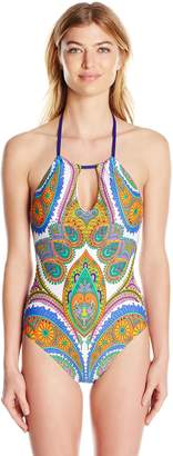Trina Turk Women's Pacific Paisley High Neck One Piece Swimsuit