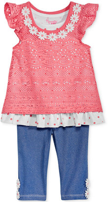 Nannette 2-Pc. Layered-Look Lace Tunic & Capri Leggings Set, Baby Girls (0-24 months) $34 thestylecure.com