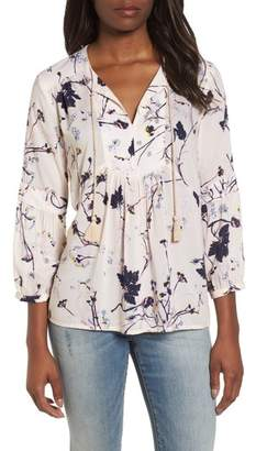 Caslon Print Split Neck Boho Top