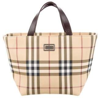 Burberry Small Leather-Trimmed Nova Check Tote