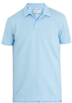 Orlebar Brown Felix Cotton Waffle Polo Shirt - Mens - Light Blue