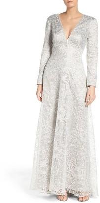 Women's Tadashi Shoji Metallic Embroidered Lace Maxi Dress $608 thestylecure.com