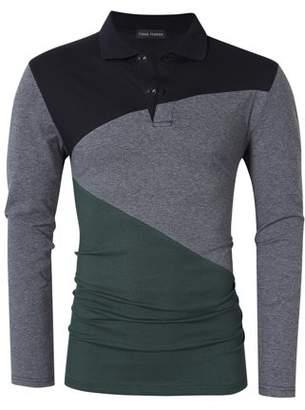 Glowsol Yong Horse Men's Color Blocked Modern Fit Long Sleeve Polo Shirt Black-green XL