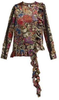 By Walid Floral Print Ruffle Trim Silk Blouse - Womens - Black Print