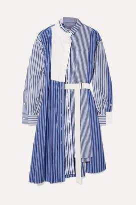 Sacai Asymmetric Striped Cotton-poplin And Piqué Dress - Blue