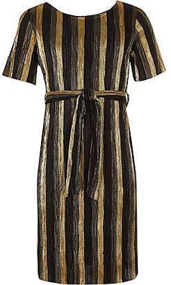 River Island Gold stripe plisse tie waist dress