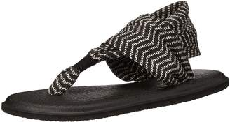 Sanuk Women's W Yoga Sling 2 Prints Flip Flop, Black/Natural Koa Tribal