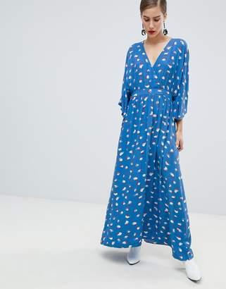 Custom Made Custommade Printed Maxi Dress with Kimono Sleeve