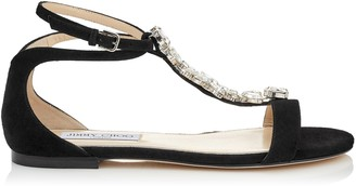 Jimmy Choo AVERIE FLAT Black Suede Sandals with Silver Crystal Piece