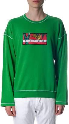Kenzo Bamboo Tiger Green Cotton Sweatshirt