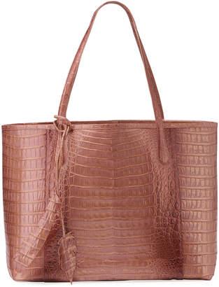 Nancy Gonzalez Erica Metallic Crocodile Leaf Shopper Tote Bag