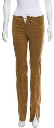 Plein Sud Jeans Mid-Rise Straight-Leg Suede Pants Tan Mid-Rise Straight-Leg Suede Pants