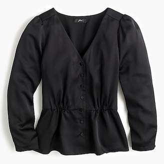 J.Crew Long-sleeve peplum top in satin-crepe