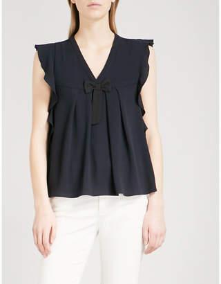 CLAUDIE PIERLOT Brava bow embellished ruffled crepe blouse QSNVCE