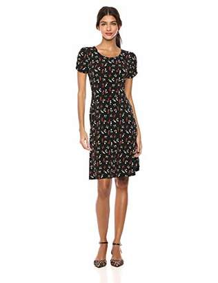 Lark & Ro Amazon Brand Women's Gathered Short Sleeve Crew Neck Fit and Flare Dress