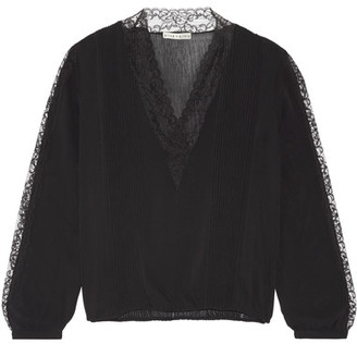 Alice + Olivia - Kaitlyn Lace-trimmed Stretch-chiffon Blouse - Black $365 thestylecure.com
