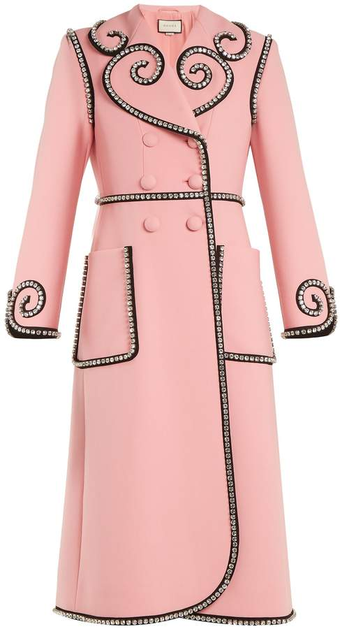 GUCCI Crystal-embellished double-breasted wool coat