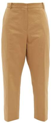 Marni Contrast Stitch Cotton Blend Cropped Trousers - Womens - Beige