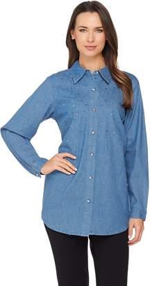 Factory Quacker Denim Shirt with Multi-Color Rhinestone