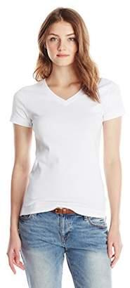 Three Dots Women's Essential V-Neck Short Sleeve Tee