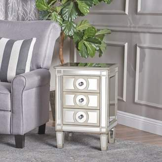 Noble House Carlee Mirrored 3 Drawer Cabinet with Faux Wood Frame, Silver