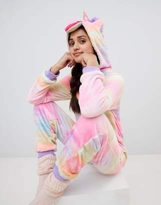 Loungeable unicorn onesie in rainbow print