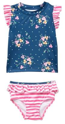 Harper Canyon Ruffle Rashguard Swimsuit Set (Baby Girls)