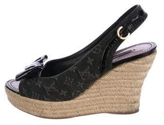 Louis Vuitton Monogram & Fleur Platform Wedge Pumps