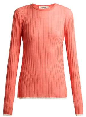 Diane von Furstenberg Contrasting Trim Ribbed Knit Wool Blend Top - Womens - Pink
