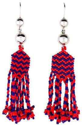 Zigzag Beaded Tassel Earrings