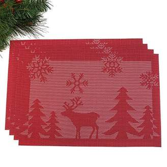 Christmas Holiday Placemats - Set of 4 - Washable and Stain Resistant - by Presence Home (4