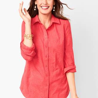 Talbots Classic Cotton Shirt - Embroidered Leaves