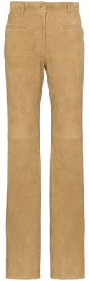 Nili Lotan Mid-rise flared suede trousers