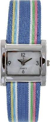 Peugeot Women's 3016BL Silver-Tone Canvas Ribbon Strap Watch