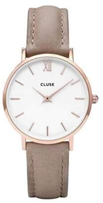Cluse Women's Minuit 33mm Brown Leather Band Metal Case Quartz Watch Cl30043