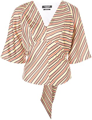 Calvin Klein striped back tie blouse