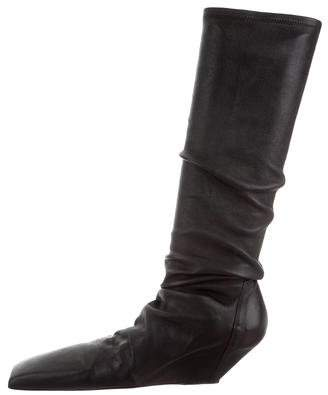 Rick Owens Leather Knee-High Boots