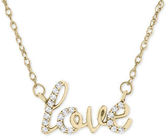 """Wrapped Diamond Scripted Love 17"""" Pendant Necklace (1/10 ct. t.w.) in 14k Gold"""