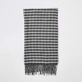 River Island Black dogstooth check print scarf